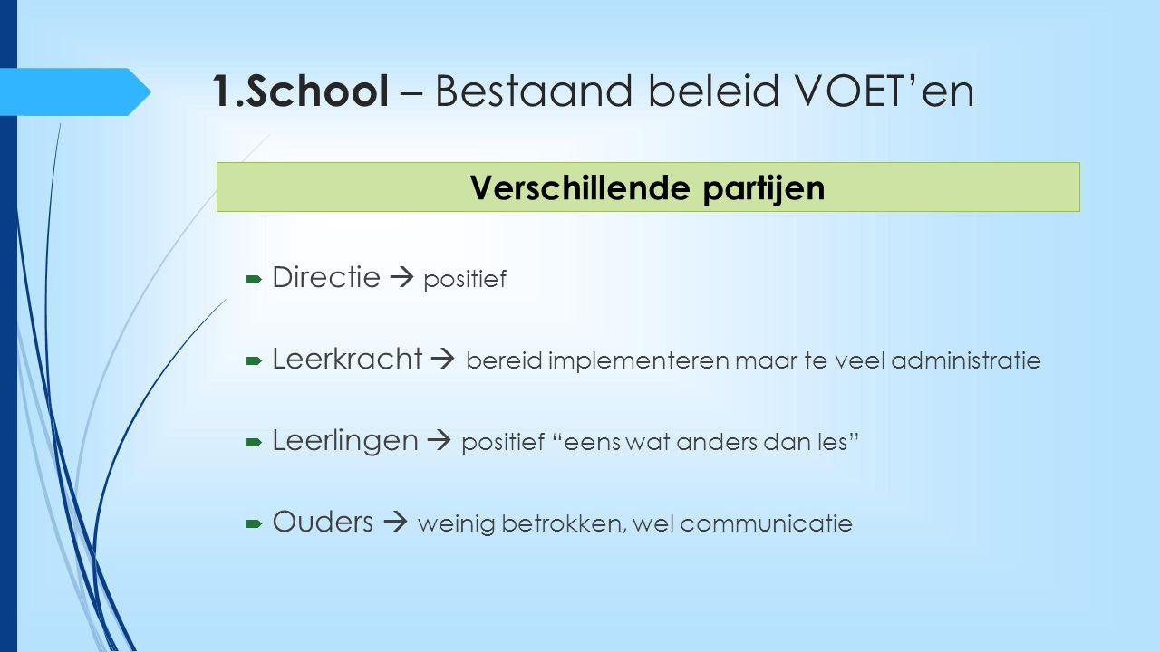 1.School – Bestaand beleid VOET'en