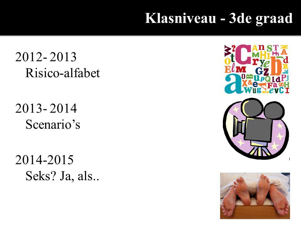 Klasniveau - 3de graad 2012- 2013 Risico-alfabet 2013- 2014 Scenario's