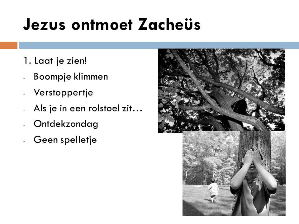 Jezus ontmoet Zacheüs 1. Laat je zien! Boompje klimmen Verstoppertje