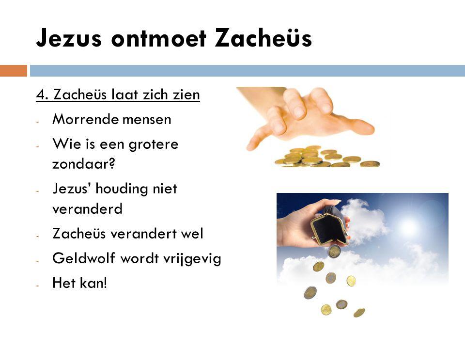 Jezus ontmoet Zacheüs 4. Zacheüs laat zich zien Morrende mensen