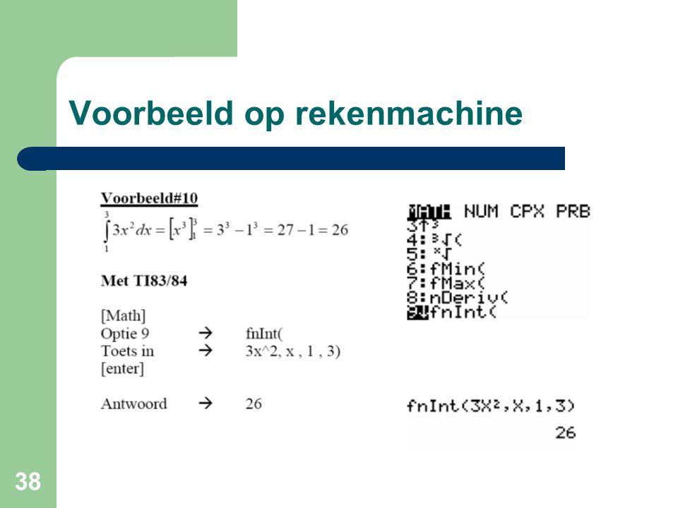 Voorbeeld op rekenmachine