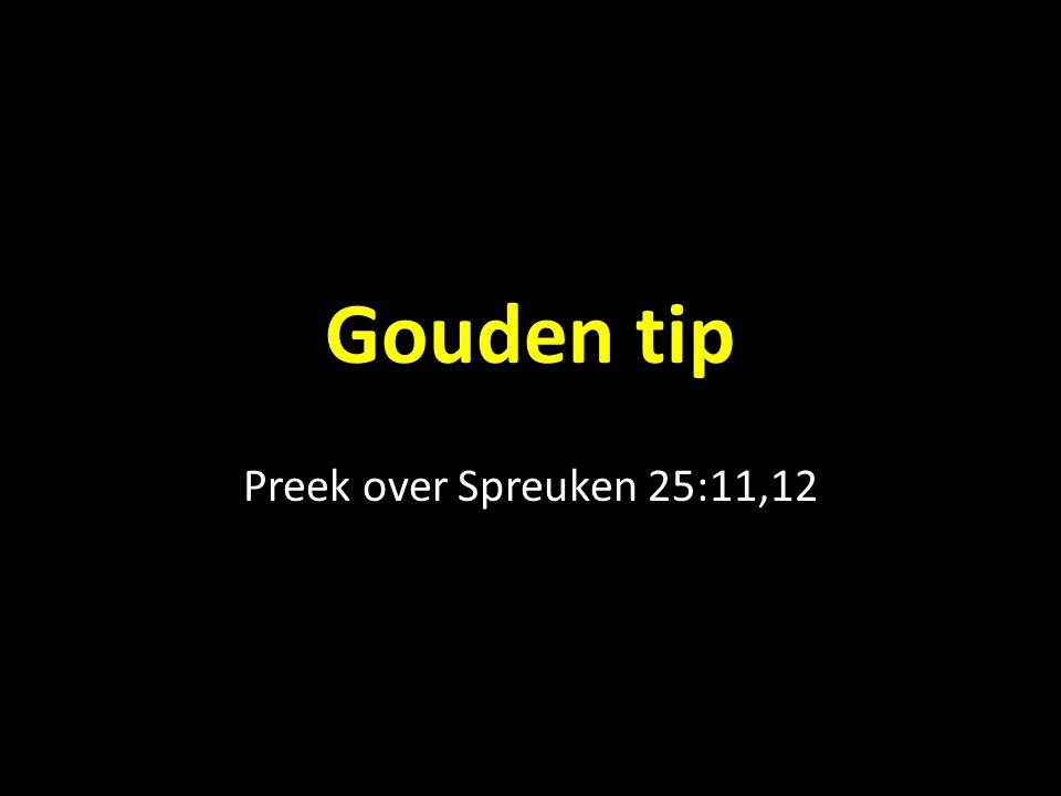Gouden tip Preek over Spreuken 25:11,12