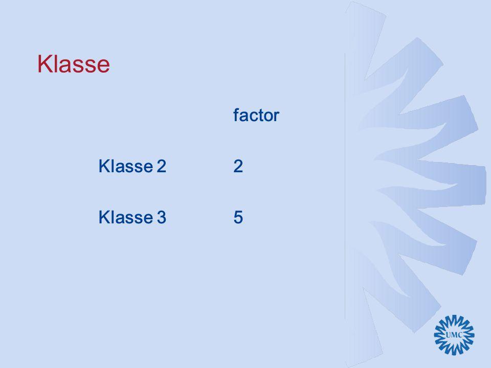 Klasse factor Klasse 2 2 Klasse 3 5