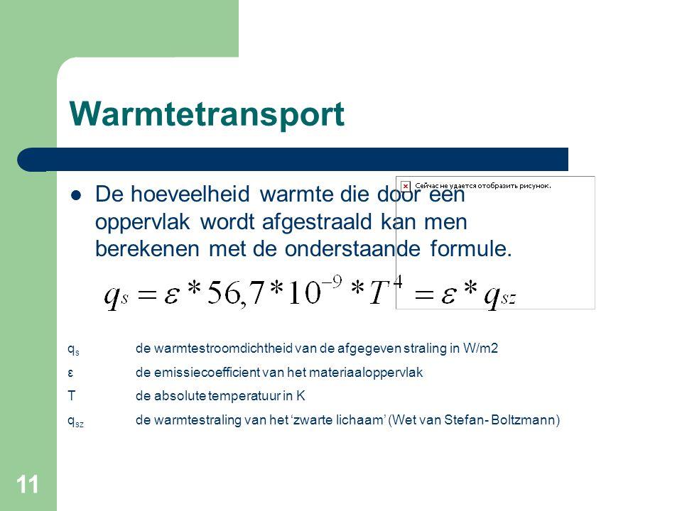 Warmtetransport De hoeveelheid warmte die door een oppervlak wordt afgestraald kan men berekenen met de onderstaande formule.