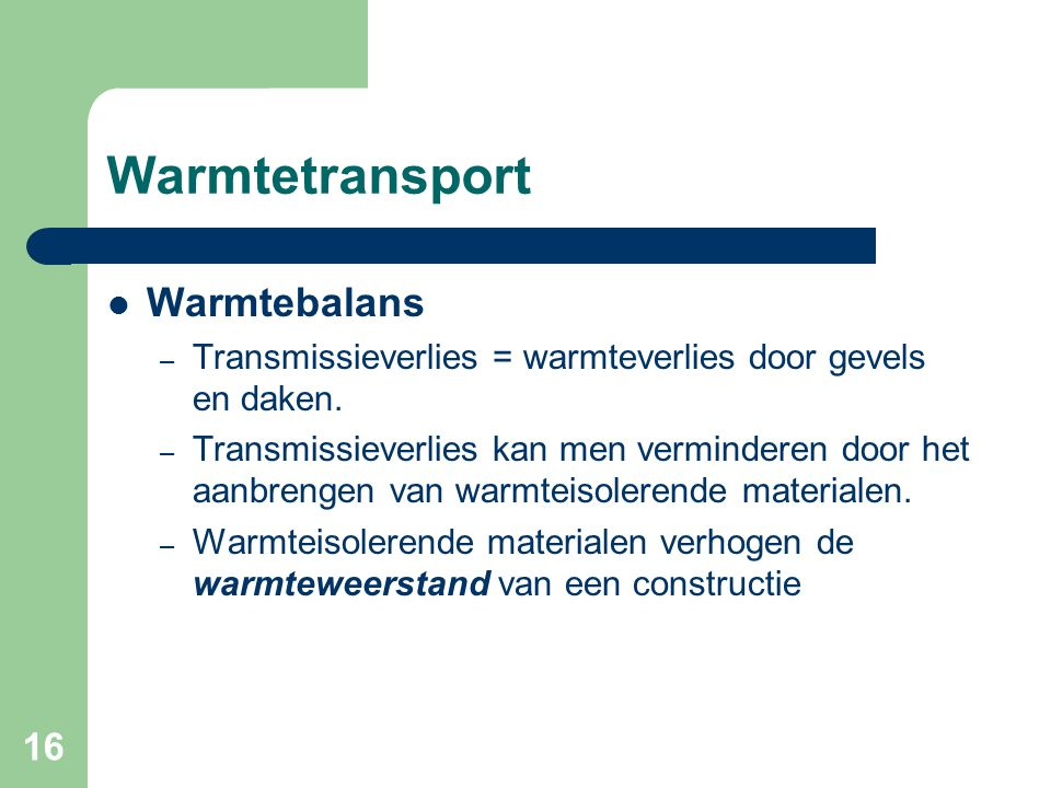 Warmtetransport Warmtebalans