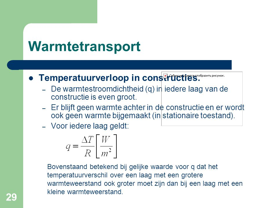 Warmtetransport Temperatuurverloop in constructies.
