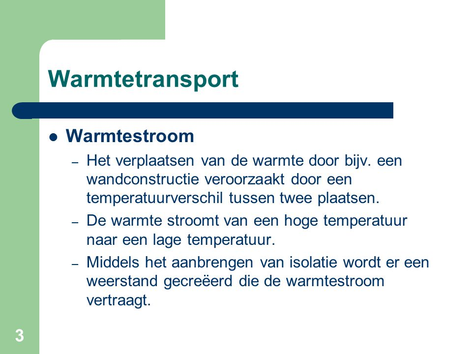 Warmtetransport Warmtestroom