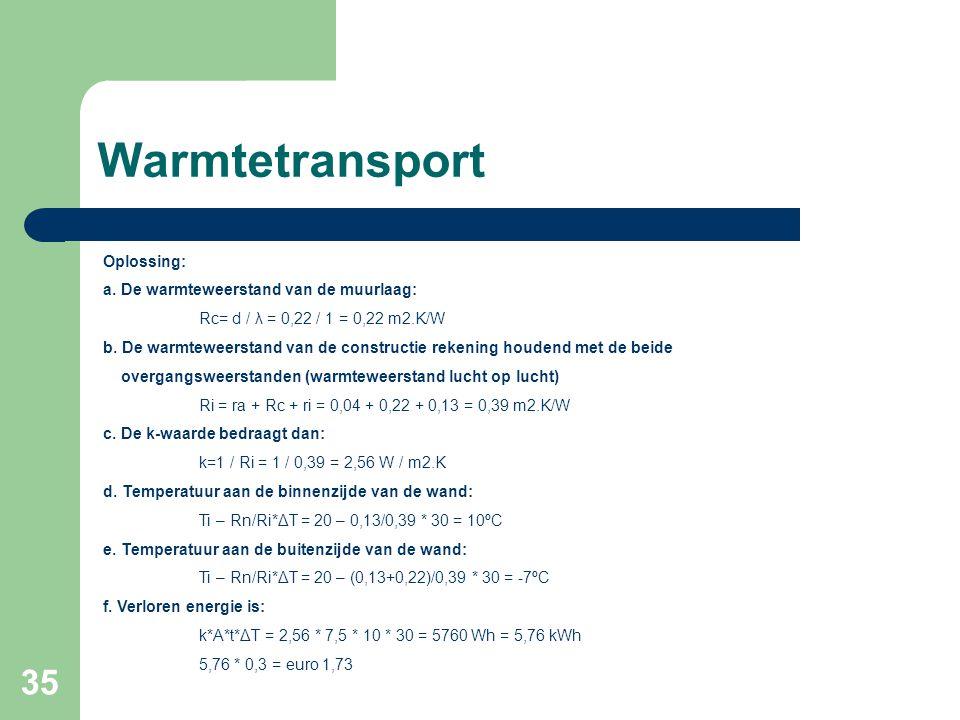 Warmtetransport Oplossing: a. De warmteweerstand van de muurlaag: