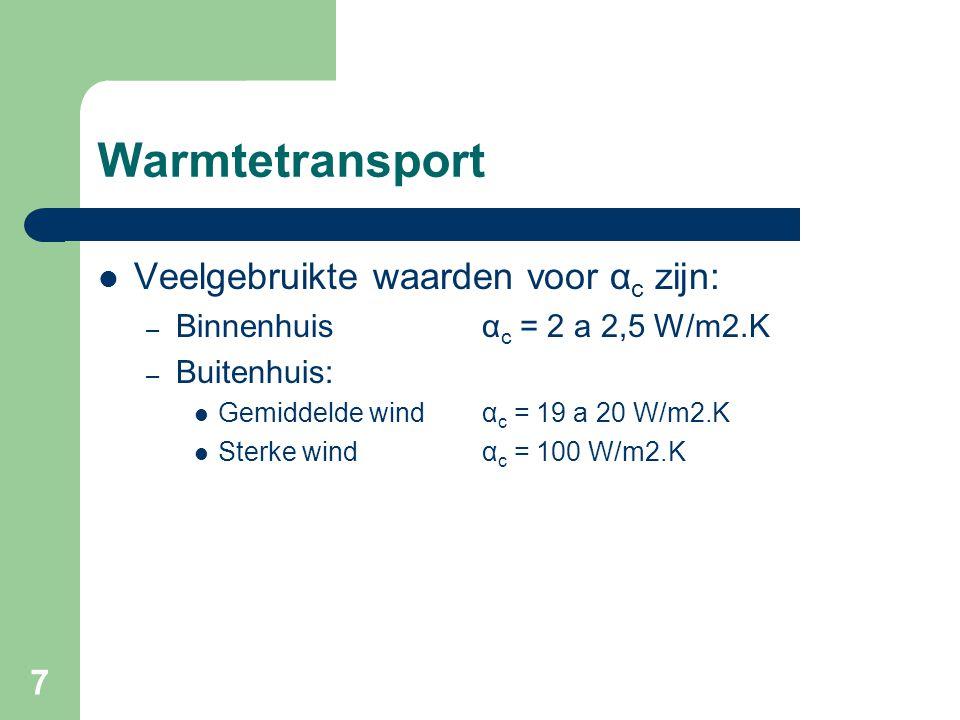 Warmtetransport Veelgebruikte waarden voor αc zijn: