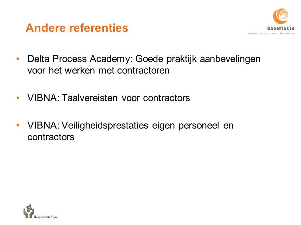 Andere referenties Delta Process Academy: Goede praktijk aanbevelingen voor het werken met contractoren.