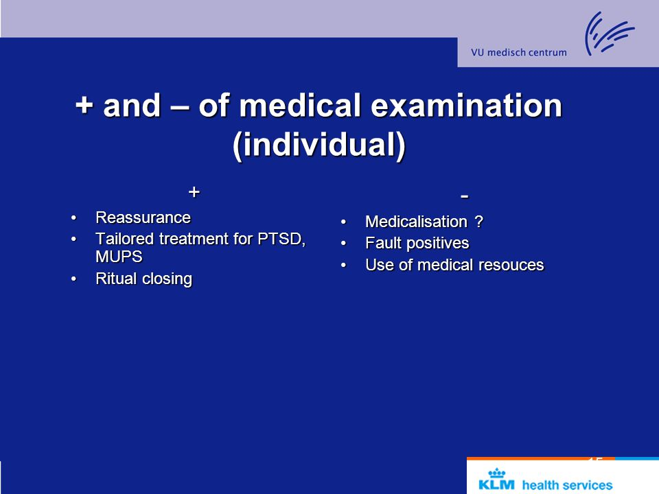 + and – of medical examination (individual)