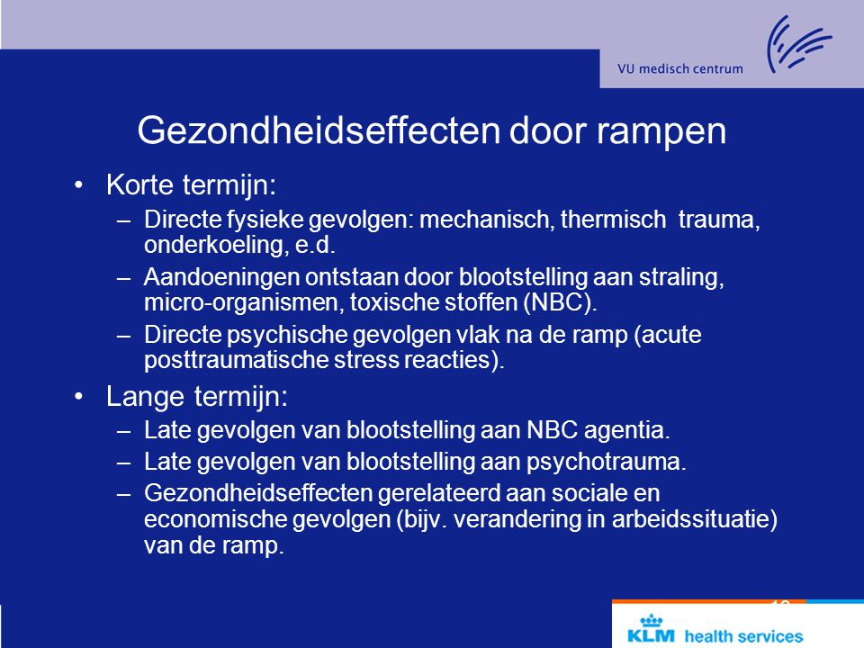 Gezondheidseffecten door rampen
