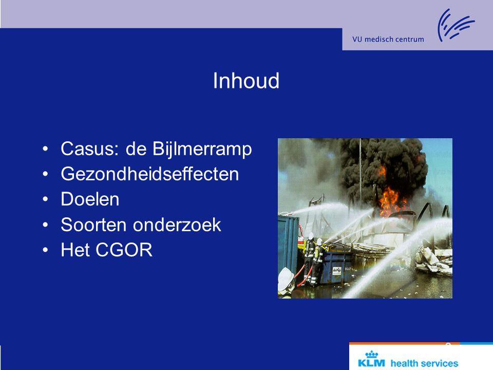 Inhoud Casus: de Bijlmerramp Gezondheidseffecten Doelen