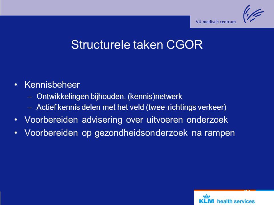 Structurele taken CGOR