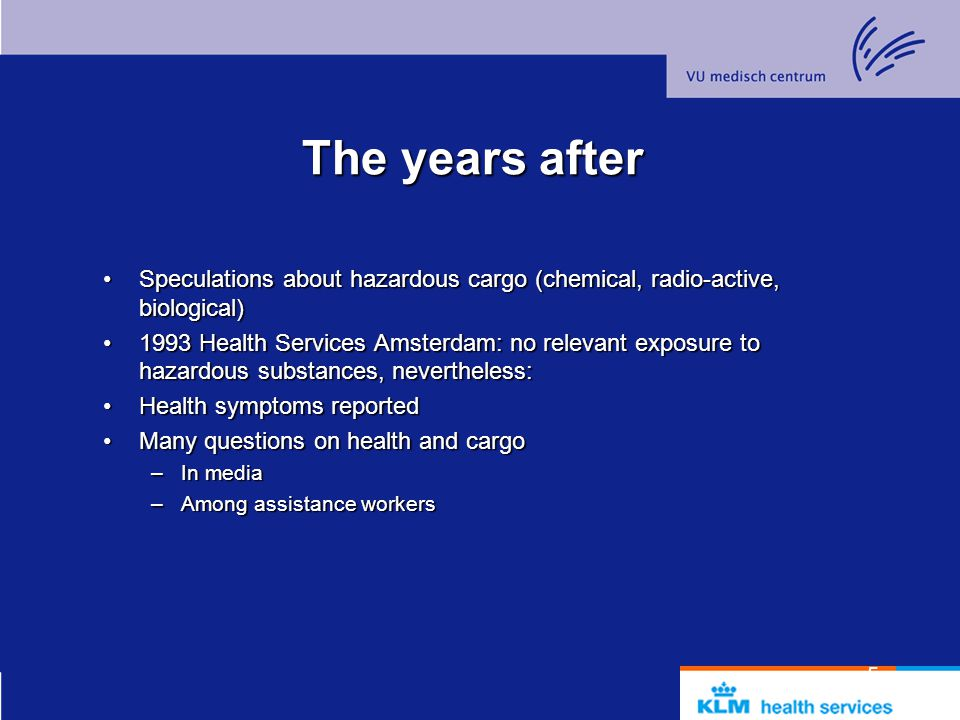 The years after Speculations about hazardous cargo (chemical, radio-active, biological)