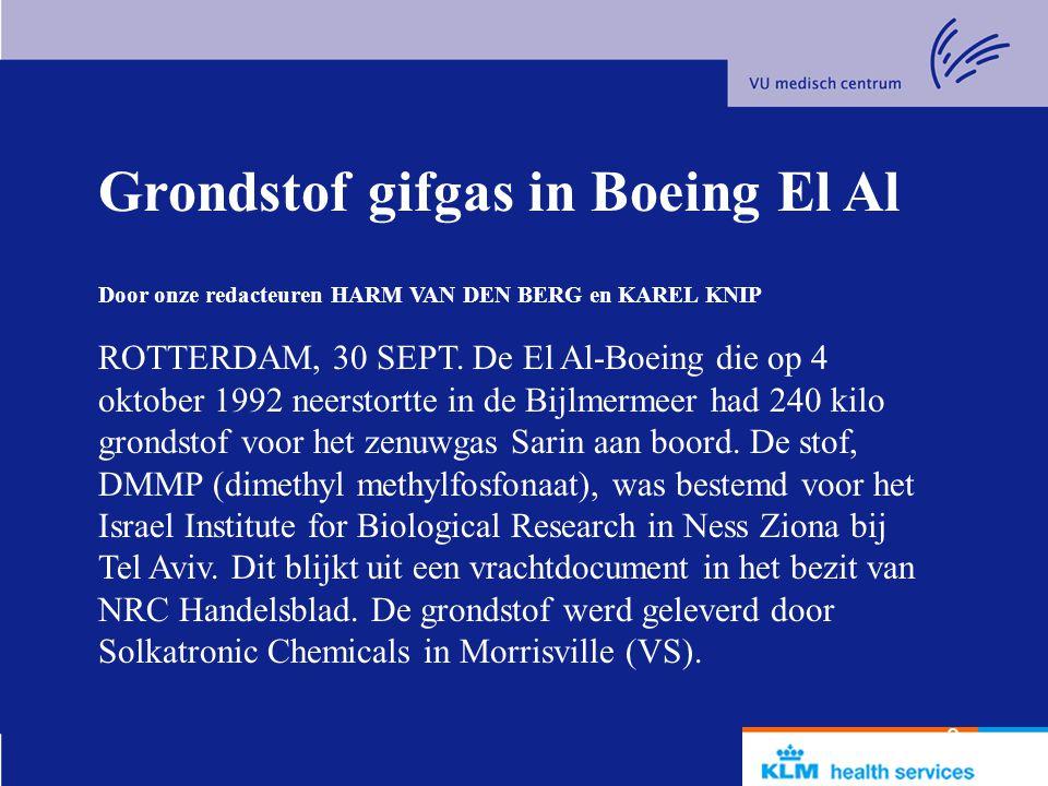 Grondstof gifgas in Boeing El Al