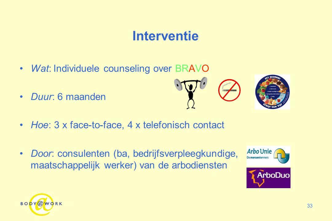 Interventie Wat: Individuele counseling over BRAVO Duur: 6 maanden
