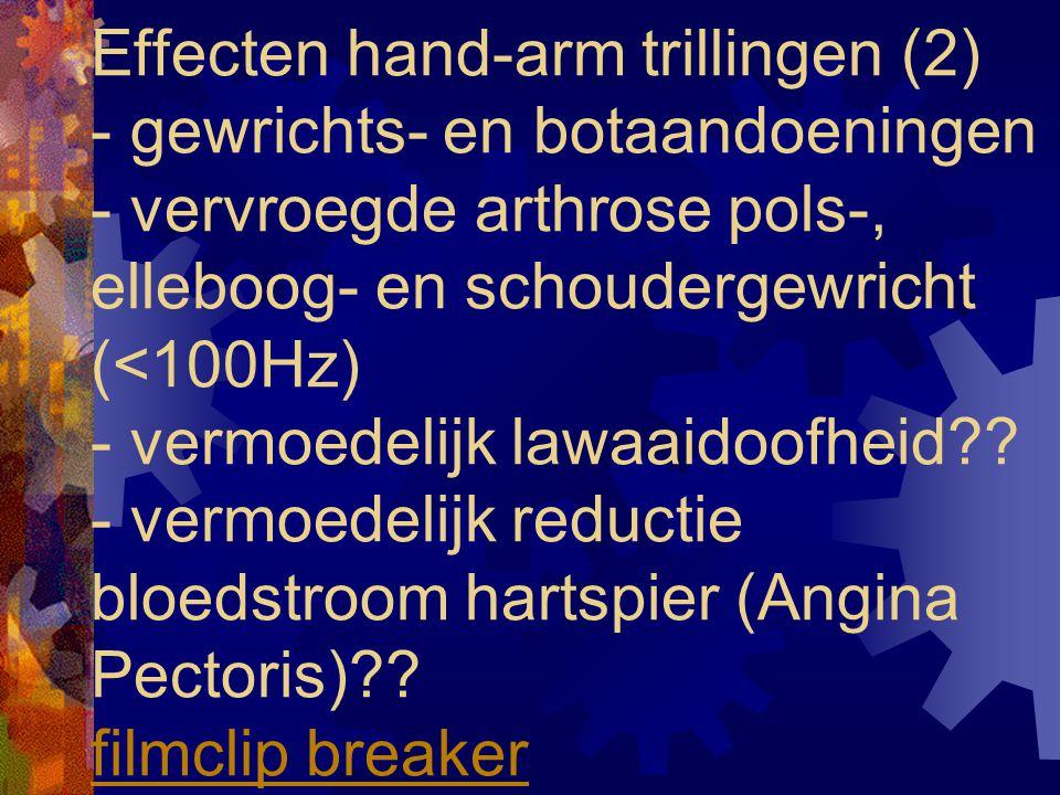 Effecten hand-arm trillingen (2) - gewrichts- en botaandoeningen - vervroegde arthrose pols-, elleboog- en schoudergewricht (<100Hz) - vermoedelijk lawaaidoofheid .