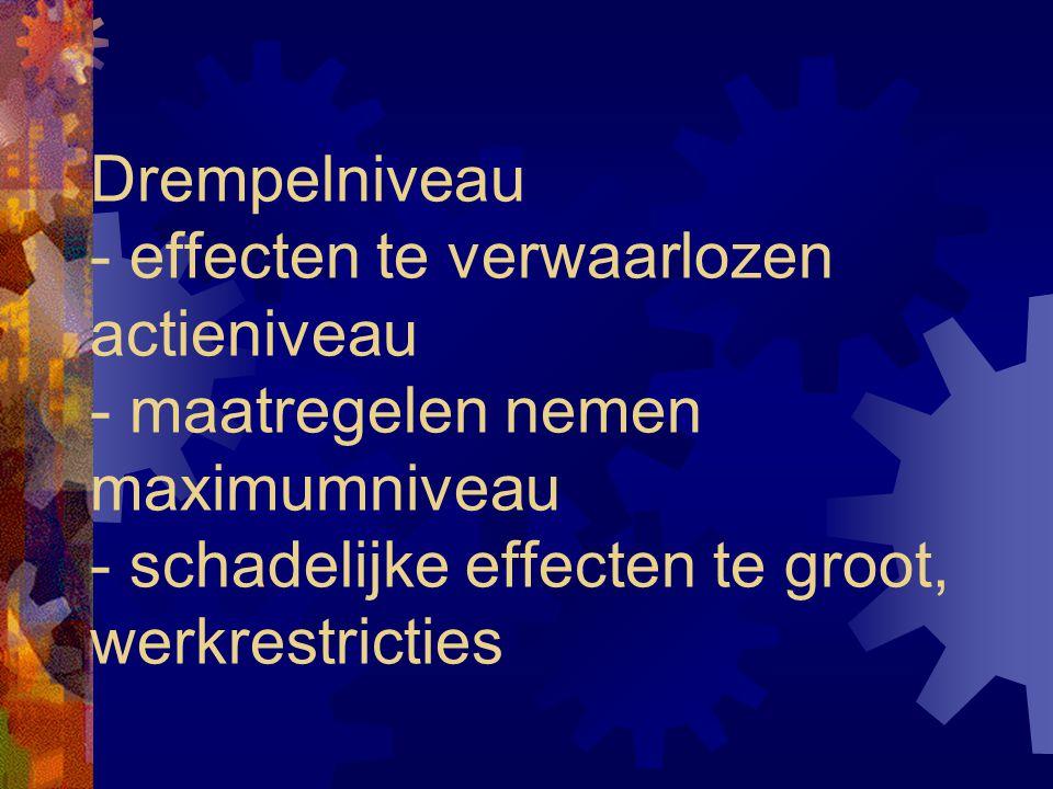 Drempelniveau - effecten te verwaarlozen actieniveau - maatregelen nemen maximumniveau - schadelijke effecten te groot, werkrestricties