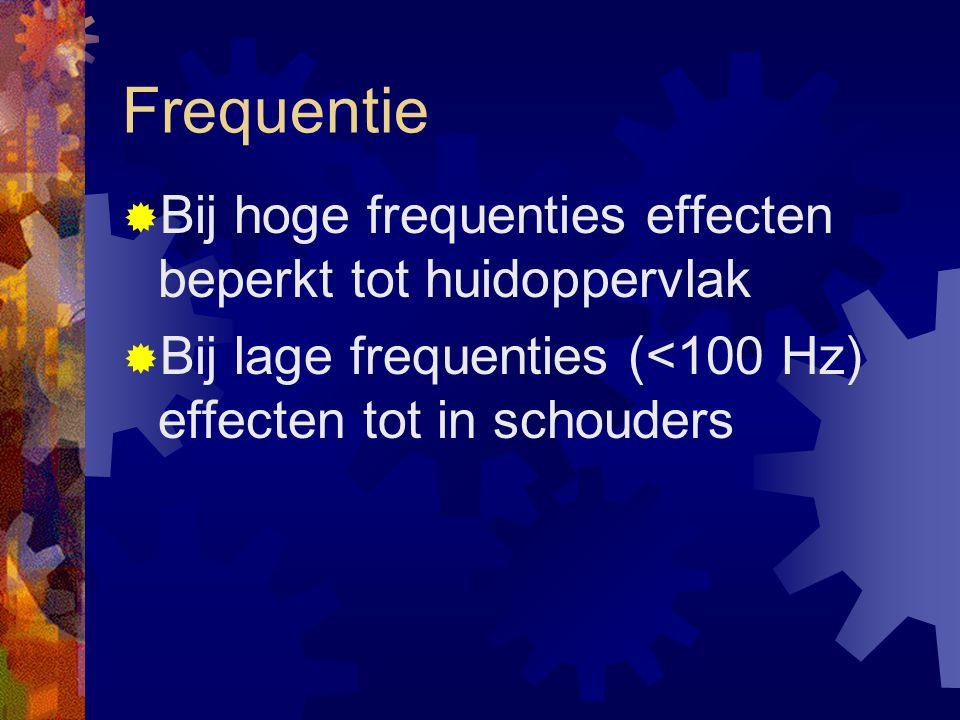 Frequentie Bij hoge frequenties effecten beperkt tot huidoppervlak