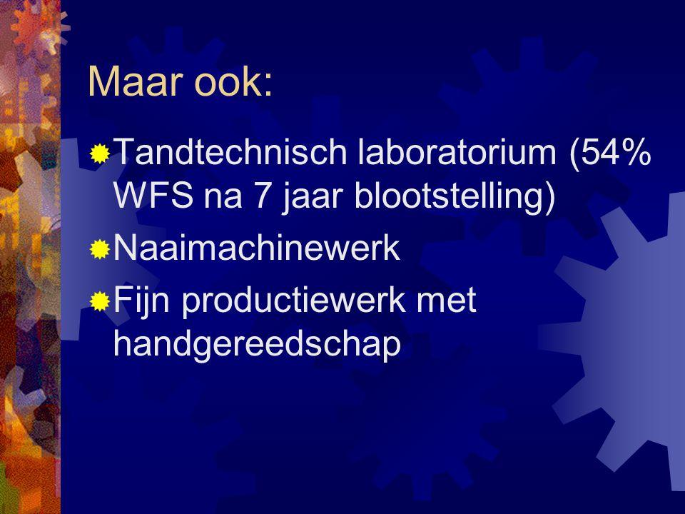 Maar ook: Tandtechnisch laboratorium (54% WFS na 7 jaar blootstelling)
