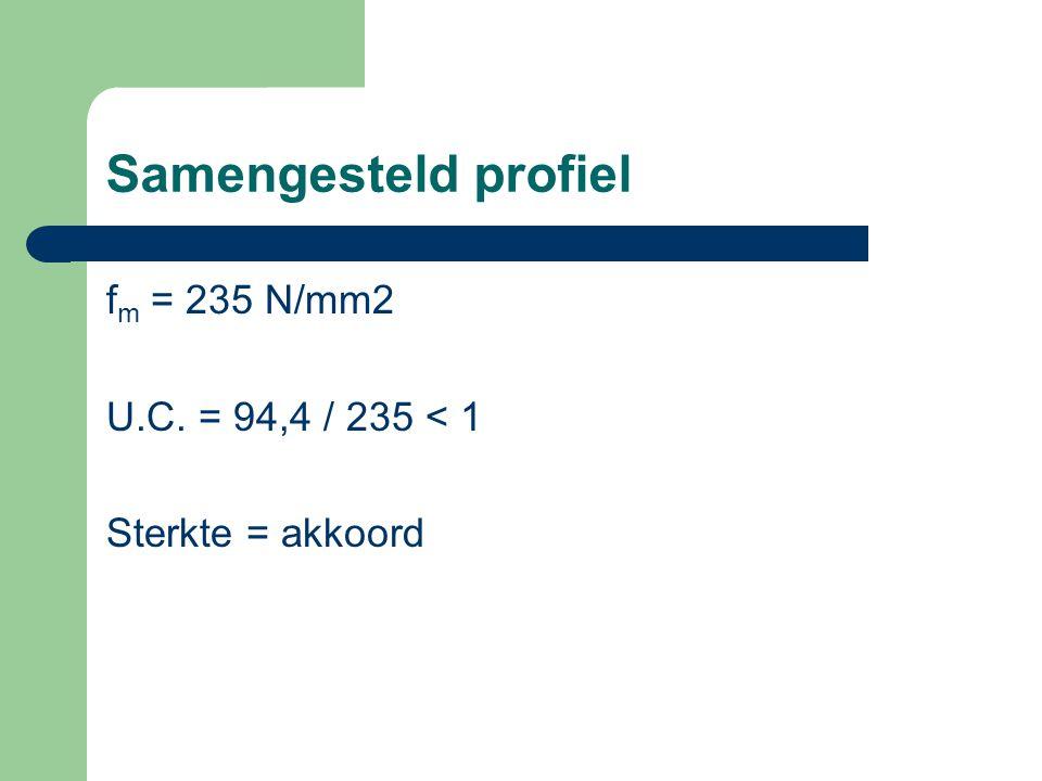 Samengesteld profiel fm = 235 N/mm2 U.C. = 94,4 / 235 < 1