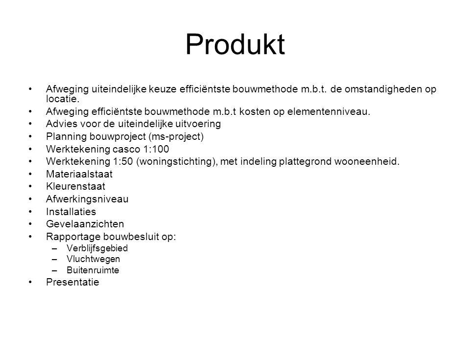 Produkt Afweging uiteindelijke keuze efficiëntste bouwmethode m.b.t. de omstandigheden op locatie.