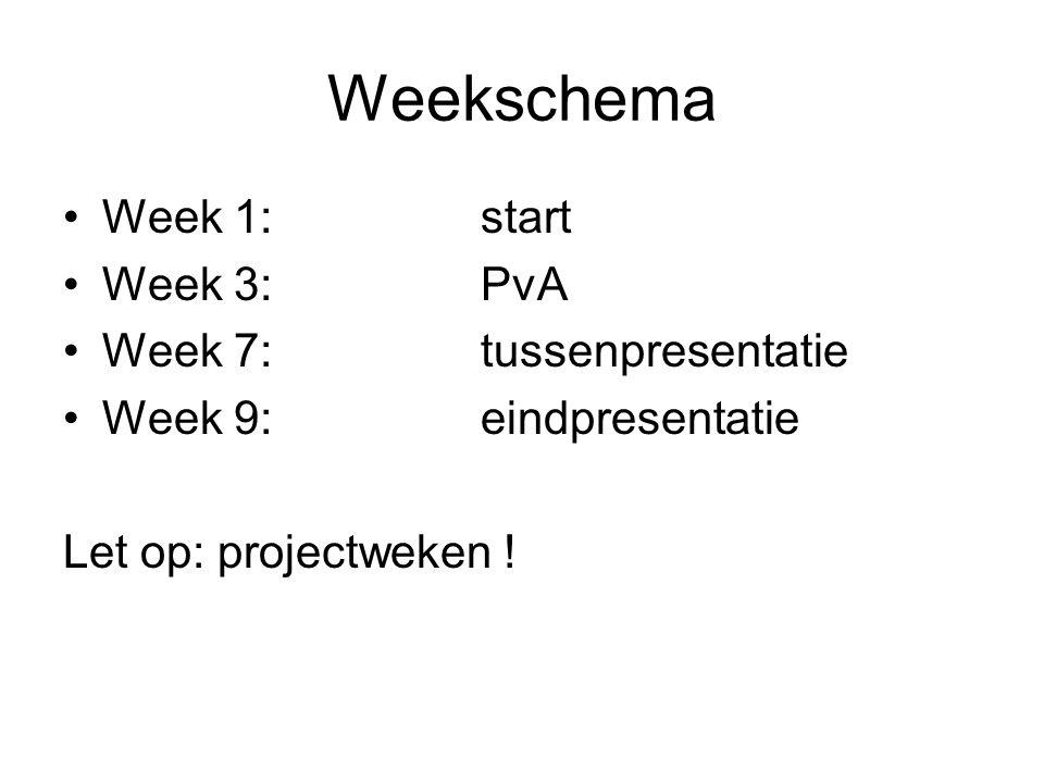 Weekschema Week 1: start Week 3: PvA Week 7: tussenpresentatie