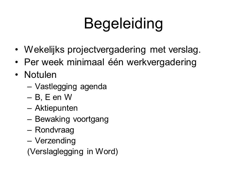 Begeleiding Wekelijks projectvergadering met verslag.
