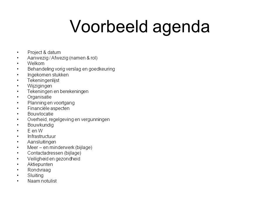 Voorbeeld agenda Project & datum Aanwezig / Afwezig (namen & rol)