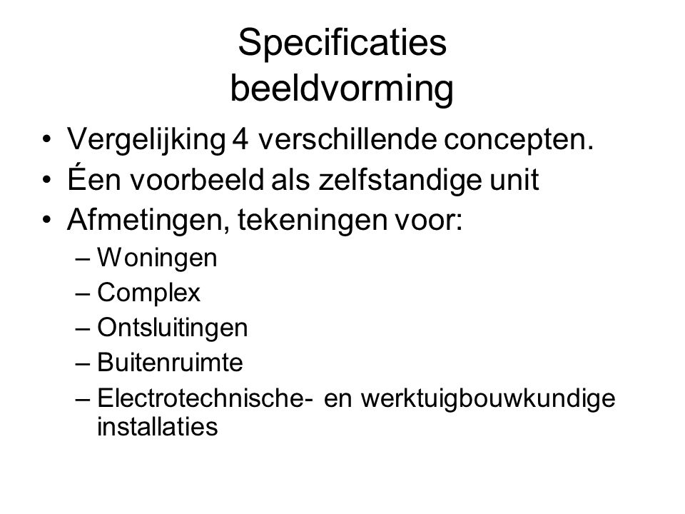 Specificaties beeldvorming