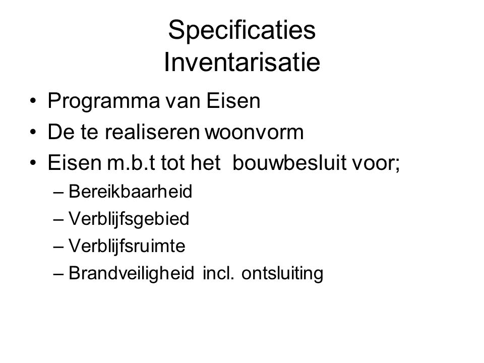 Specificaties Inventarisatie
