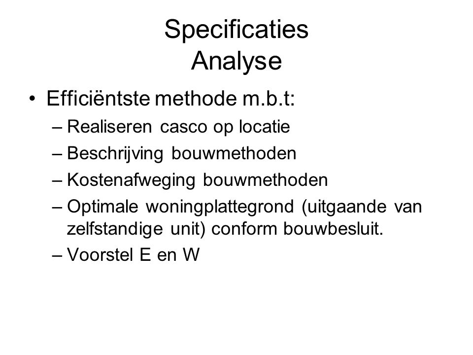 Specificaties Analyse