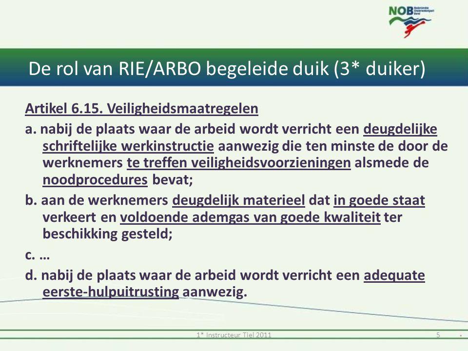 De rol van RIE/ARBO begeleide duik (3* duiker)