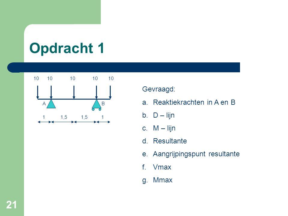 Opdracht 1 Gevraagd: Reaktiekrachten in A en B D – lijn M – lijn