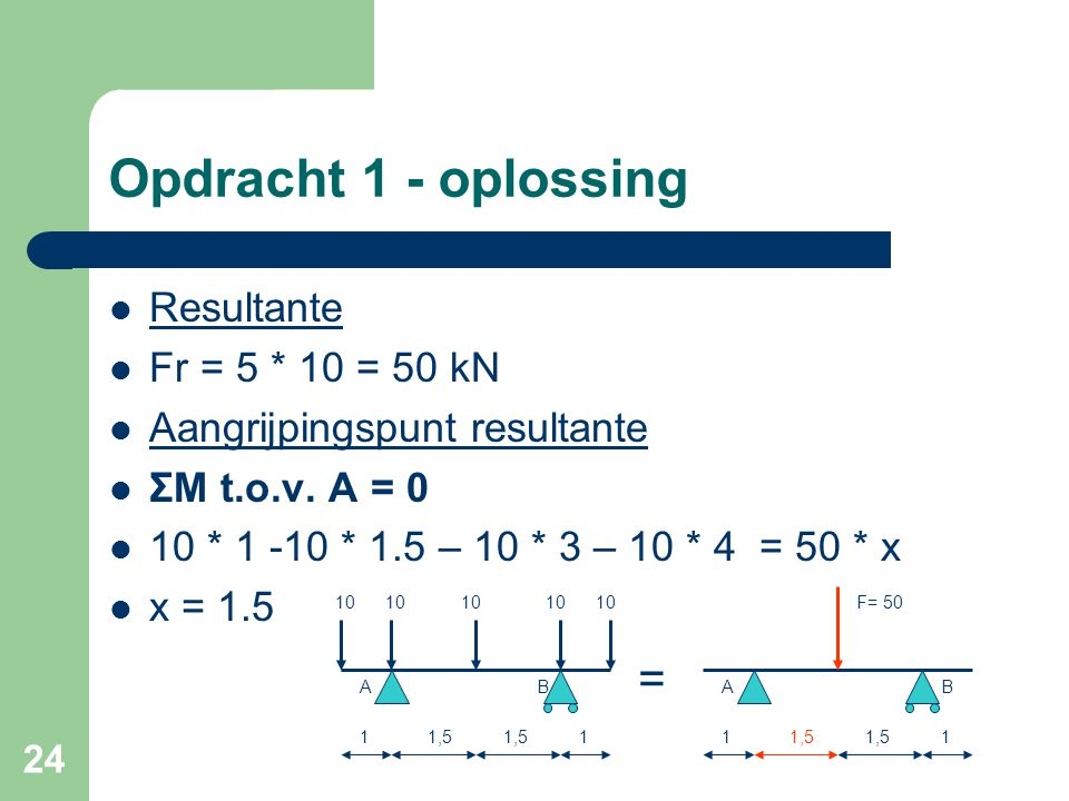 Opdracht 1 - oplossing = Resultante Fr = 5 * 10 = 50 kN