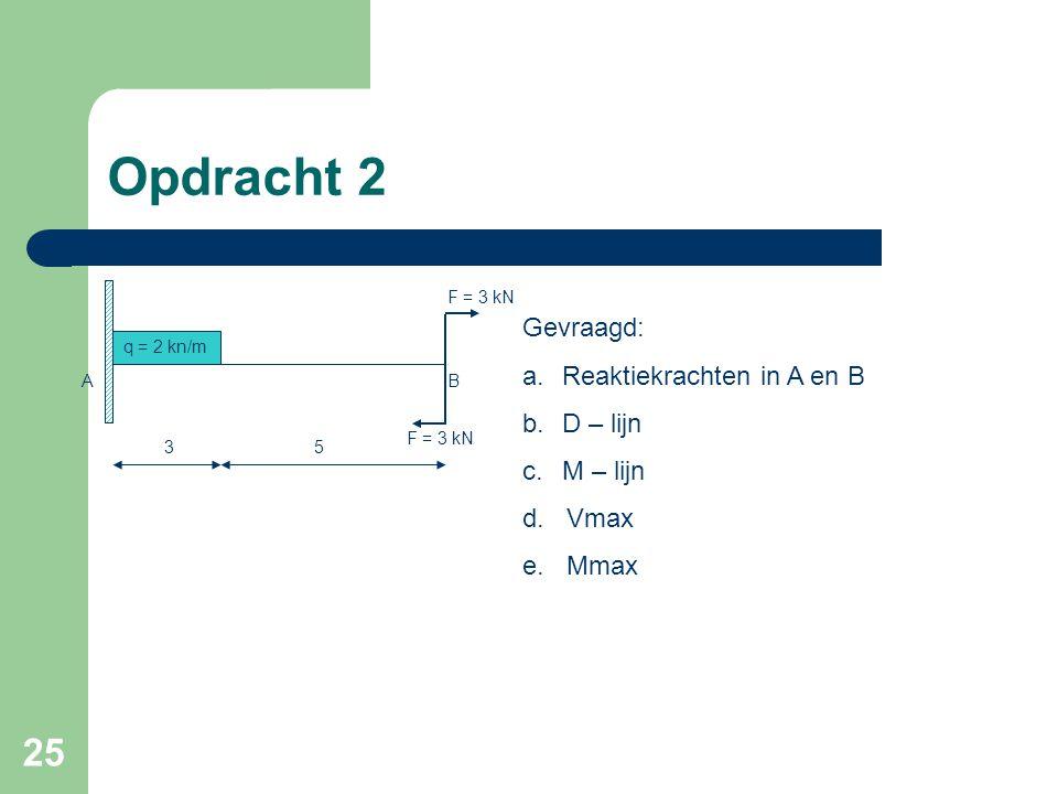 Opdracht 2 Gevraagd: Reaktiekrachten in A en B D – lijn M – lijn