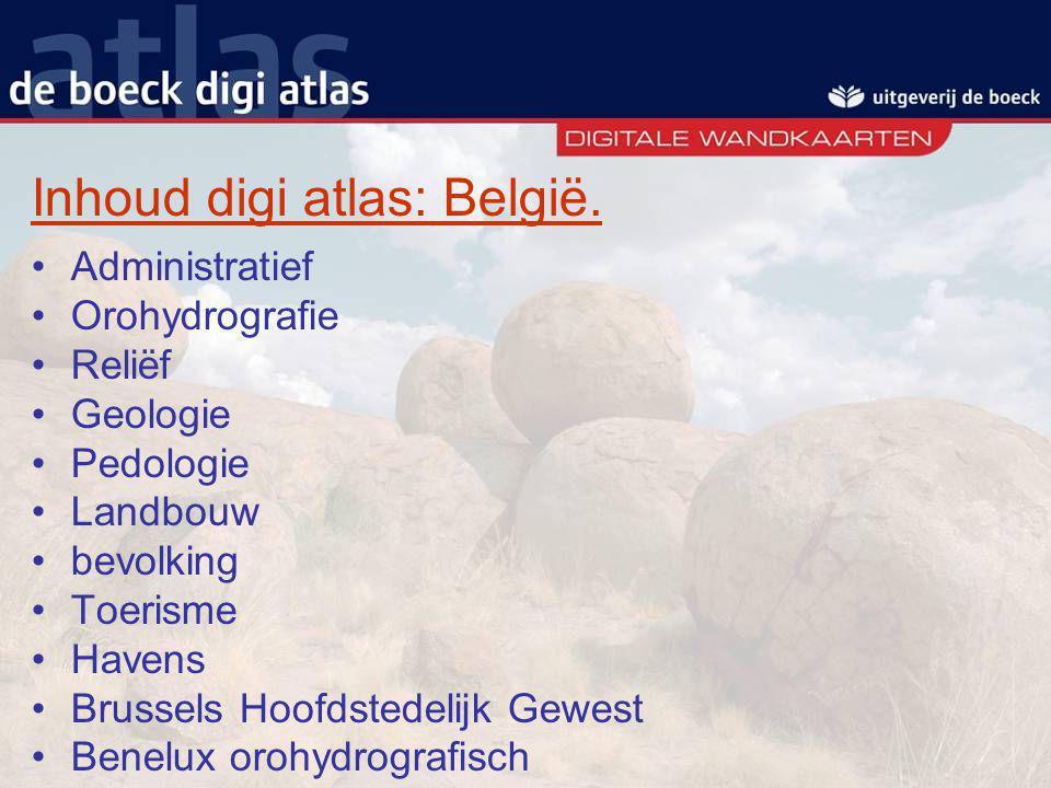 Inhoud digi atlas: België.