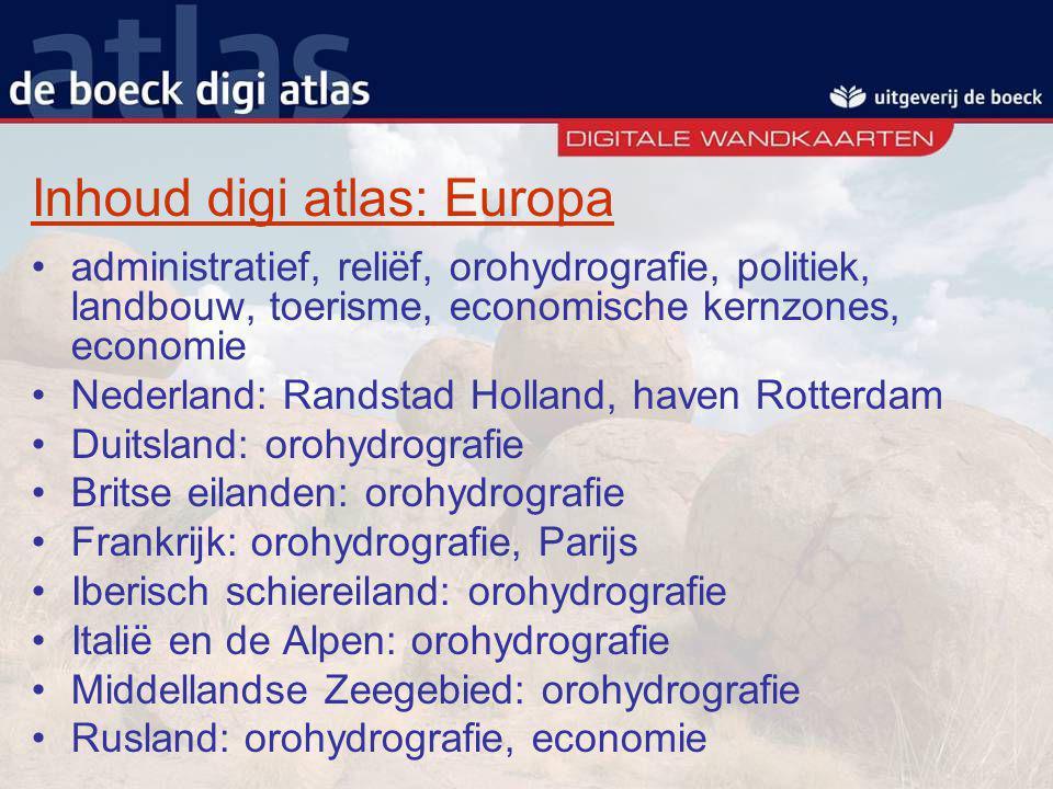 Inhoud digi atlas: Europa