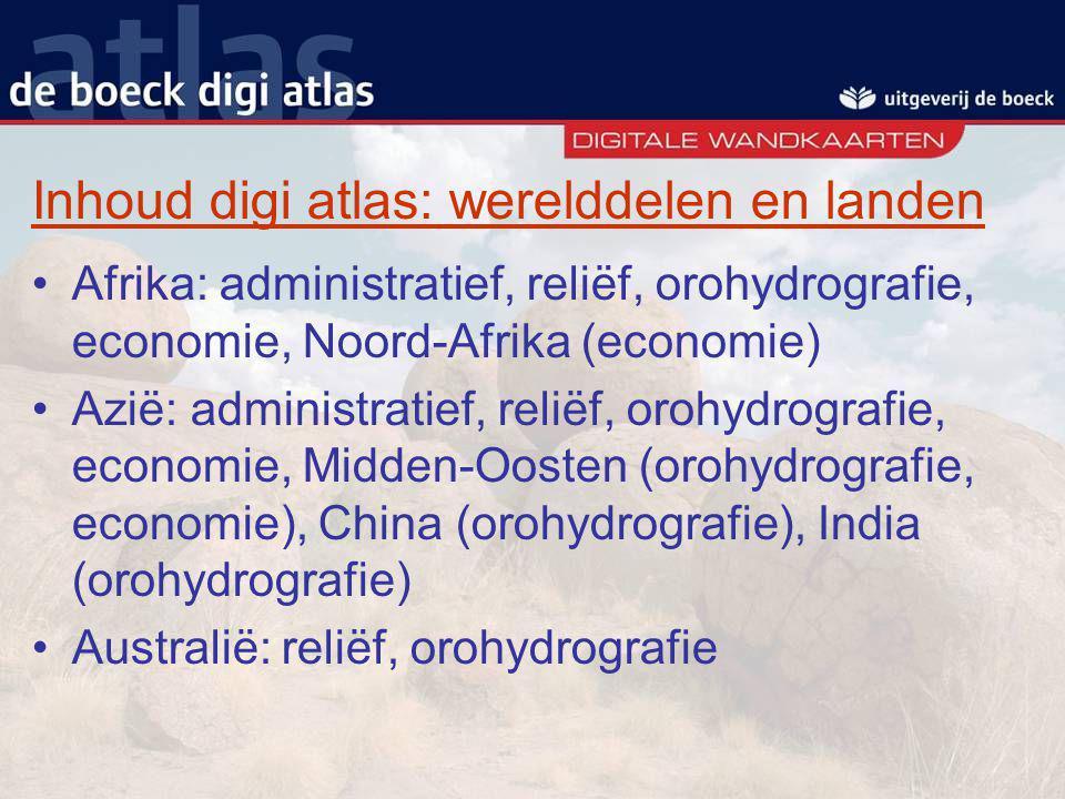 Inhoud digi atlas: werelddelen en landen