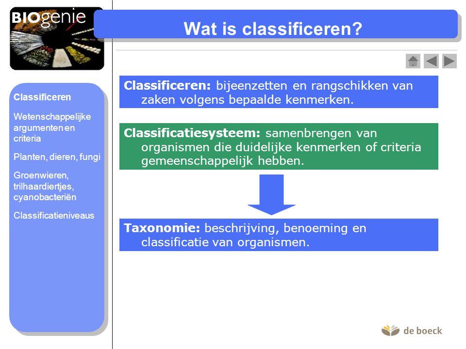 Wat is classificeren Classificeren: bijeenzetten en rangschikken van zaken volgens bepaalde kenmerken.