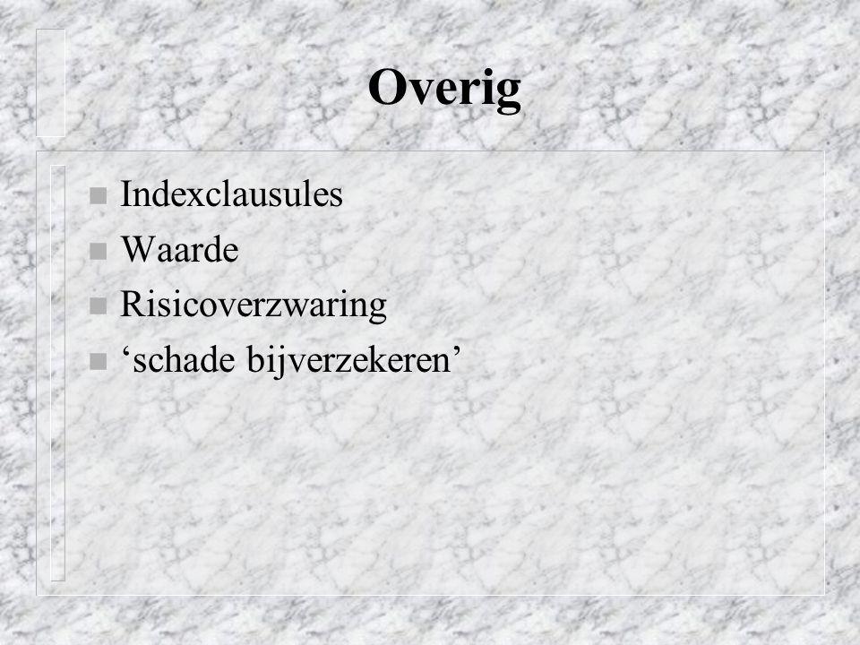 Overig Indexclausules Waarde Risicoverzwaring 'schade bijverzekeren'