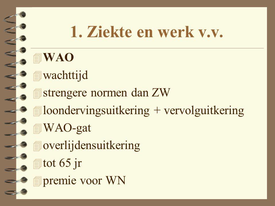 1. Ziekte en werk v.v. WAO wachttijd strengere normen dan ZW