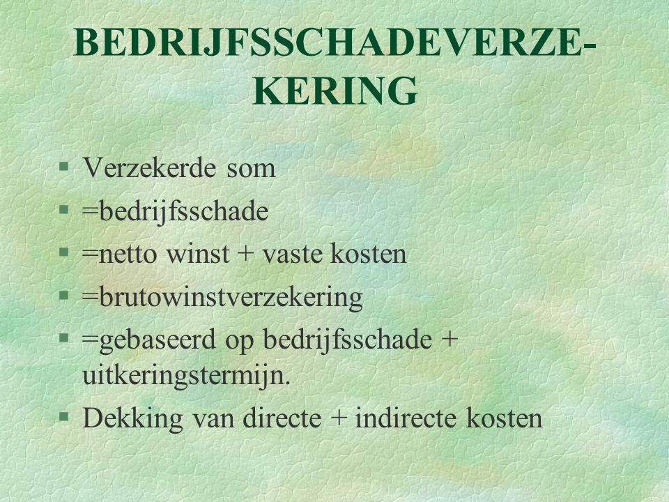 BEDRIJFSSCHADEVERZE-KERING