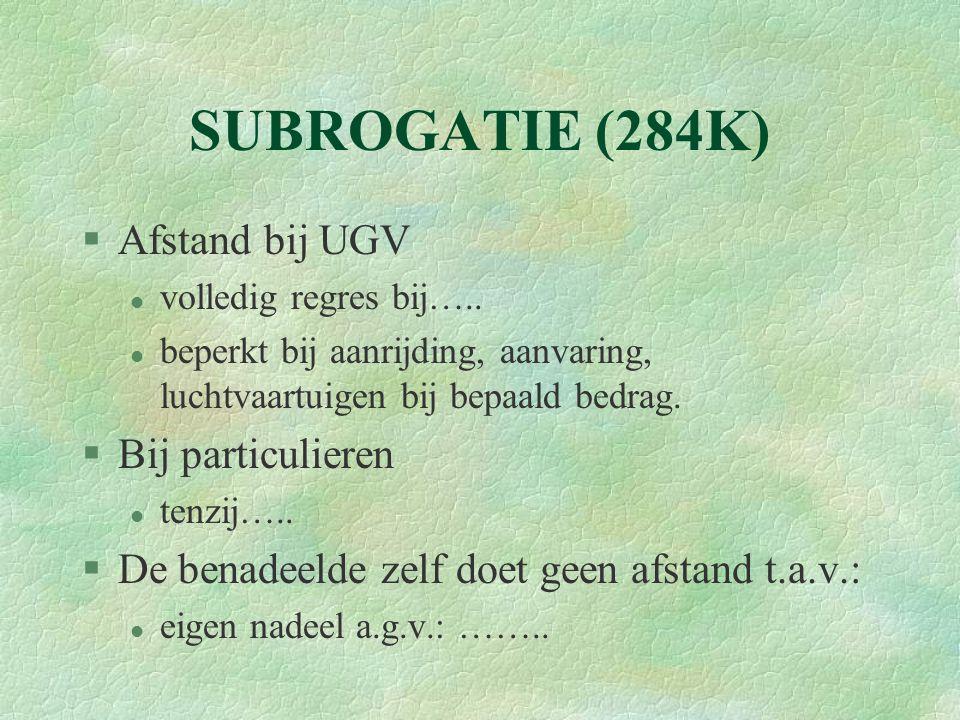 SUBROGATIE (284K) Afstand bij UGV Bij particulieren