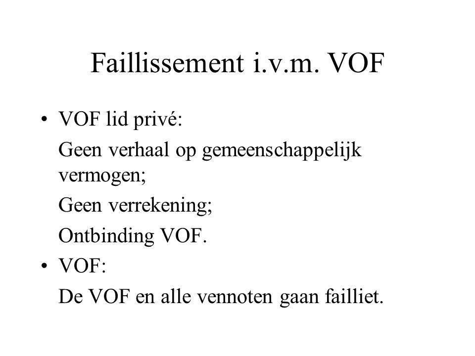 Faillissement i.v.m. VOF VOF lid privé:
