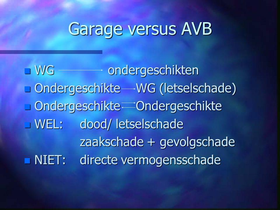 Garage versus AVB WG ondergeschikten Ondergeschikte WG (letselschade)