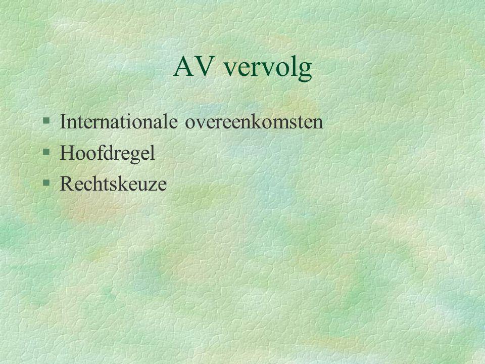 AV vervolg Internationale overeenkomsten Hoofdregel Rechtskeuze