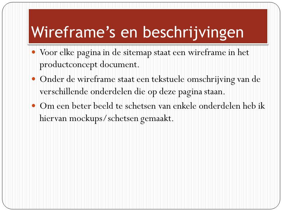 Wireframe's en beschrijvingen