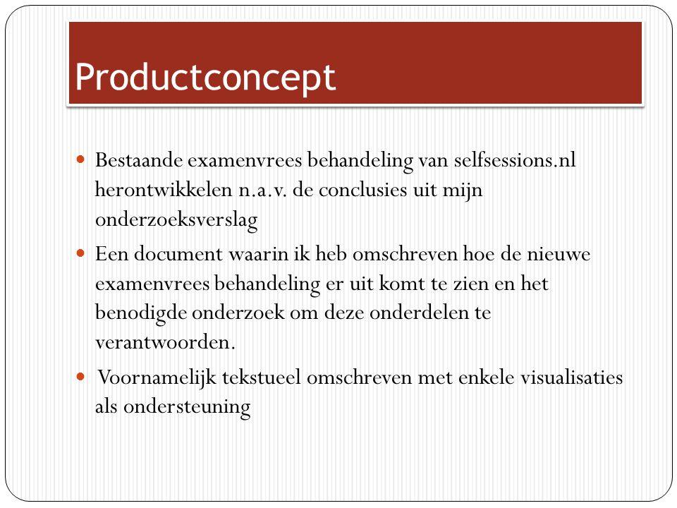 Productconcept Bestaande examenvrees behandeling van selfsessions.nl herontwikkelen n.a.v. de conclusies uit mijn onderzoeksverslag.